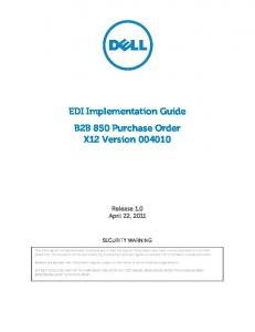 EDI Implementation Guide B2B 850 Purchase Order X12 Version