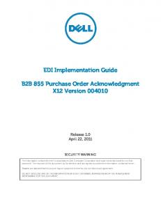EDI Implementation Guide. B2B 855 Purchase Order Acknowledgment X12 Version