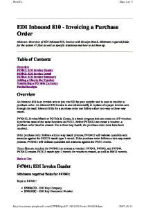 EDI Inbound Invoicing a Purchase Order