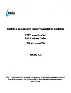 EDI Transaction Set 850 Purchase Order X12 Version 4010