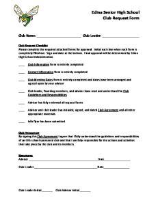 Edina Senior High School Club Request Form