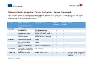 Edinburgh Napier University: Partner Institutions - Europe (Erasmus+)
