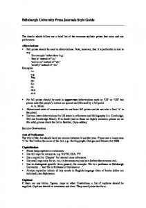 Edinburgh University Press Journals Style Guide