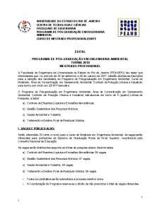 EDITAL TURMA 2018 MESTRADO PROFISSIONAL