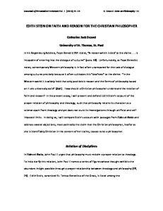 EDITH STEIN ON FAITH AND REASON FOR THE CHRISTIAN PHILOSOPHER