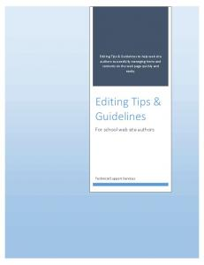 Editing Tips & Guidelines
