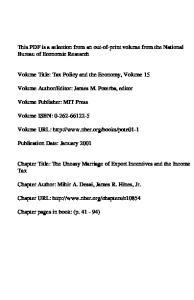 Editor: James M. Poterba, editor. Volume URL: