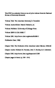 Editor: Martin Feldstein, ed. Volume Publisher: University of Chicago Press