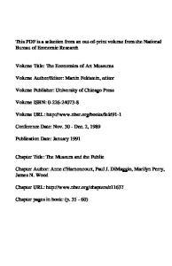 Editor: Martin Feldstein, editor. Volume Publisher: University of Chicago Press