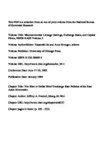 Editor: Takatoshi Ito and Anne Krueger, editors. Volume URL: