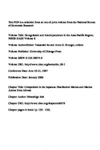 Editor: Takatoshi Ito and Anne O. Krueger, editors. Volume URL: