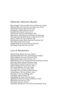 Editorial Advisory Board. List of Reviewers