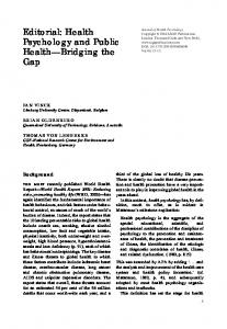 Editorial: Health Psychology and Public Health Bridging the Gap