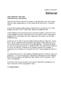 Editorial. Liebe Leserinnen, Liebe Leser, Liebe Autorinnen, Liebe Autoren,
