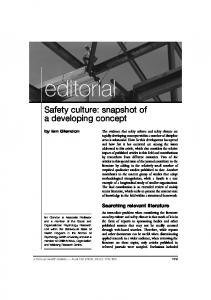 editorial Safety culture: snapshot of a developing concept