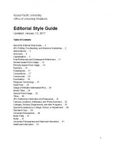 Editorial Style Guide