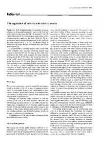Editorial. The regulation of tobacco and tobacco smoke