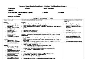 Edmonton Region Shoulder Rehabilitation Guidelines - Total Shoulder Arthroplasty