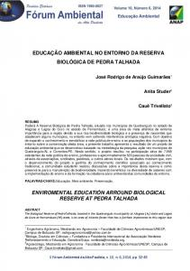 EDUCAÇÃO AMBIENTAL NO ENTORNO DA RESERVA BIOLÓGICA DE PEDRA TALHADA