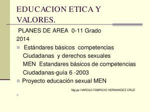 EDUCACION ETICA Y VALORES