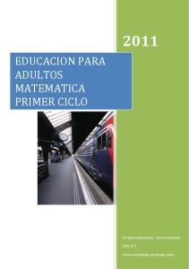 EDUCACION PARA ADULTOS MATEMATICA PRIMER CICLO