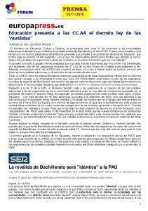 Educación presenta a las CC.AA el decreto ley de las 'reválidas'