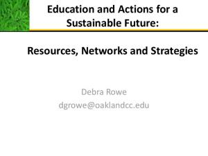 Education and Actions for a Sustainable Future: Resources, Networks and Strategies