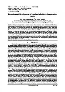 Education and Development of Muslims in India: A Comparative Study