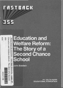 Education and Welfare Reform: The Story of a Second-Chance School