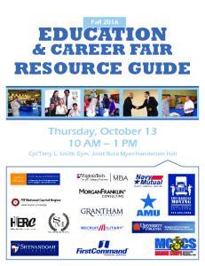 EDUCATION & CAREER FAIR RESOURCE GUIDE