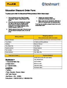 Education Discount Order Form