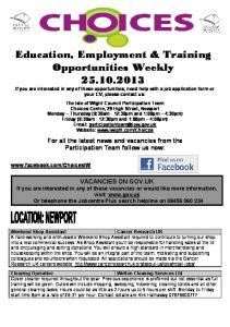 Education, Employment & Training Opportunities Weekly