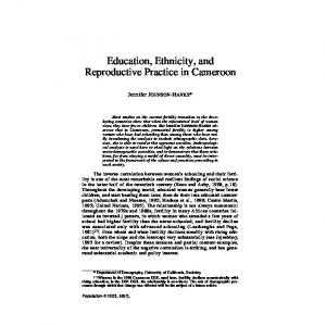 Education, Ethnicity, and Reproductive Practice in Cameroon