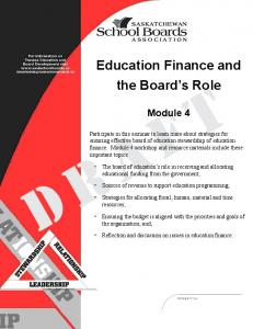 Education Finance and the Board s Role