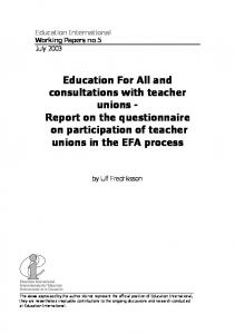 Education For All and consultations with teacher unions - Report on the questionnaire on participation of teacher unions in the EFA process