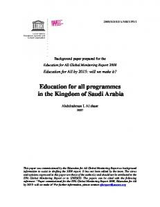 Education for all programmes in the Kingdom of Saudi Arabia