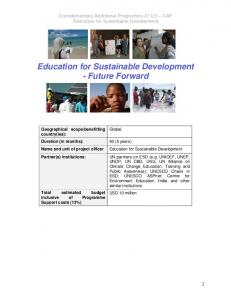 Education for Sustainable Development - Future Forward