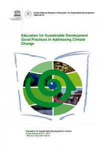 Education for Sustainable Development Good Practices in Addressing Climate Change