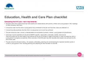 Education, Health and Care Plan checklist