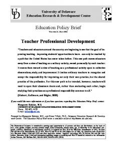 Education Policy Brief VOLUME 15, MAY Teacher Professional Development