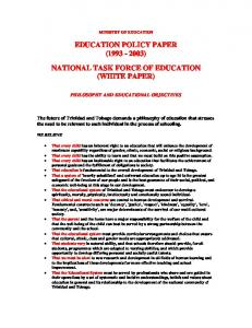 EDUCATION POLICY PAPER ( ) NATIONAL TASK FORCE OF EDUCATION (WHITE PAPER)