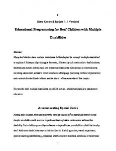 Educational Programming for Deaf Children with Multiple. Disabilities