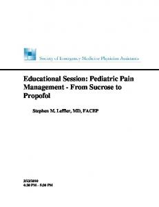 Educational Session: Pediatric Pain Management - From Sucrose to Propofol