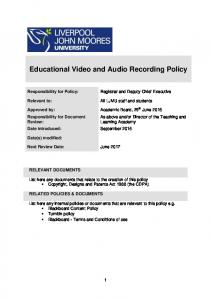 Educational Video and Audio Recording Policy