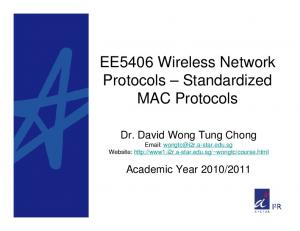 EE5406 Wireless Network Protocols Standardized MAC Protocols