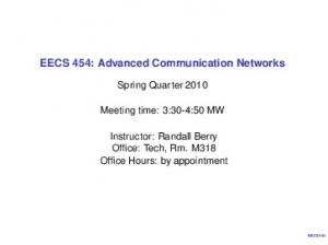 EECS 454: Advanced Communication Networks