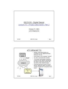 EECS150 - Digital Design Lecture 15 Project Description, Part 2