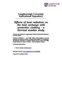 Eects of heat radiation on the heat exchange with protective clothing - a thermal mankin study