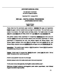 EEE 443 DIGITAL SIGNAL PROCESSING