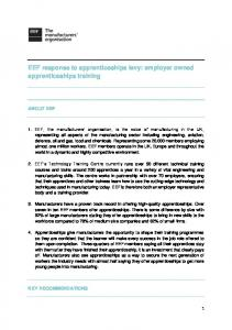 EEF response to apprenticeships levy: employer owned apprenticeships training